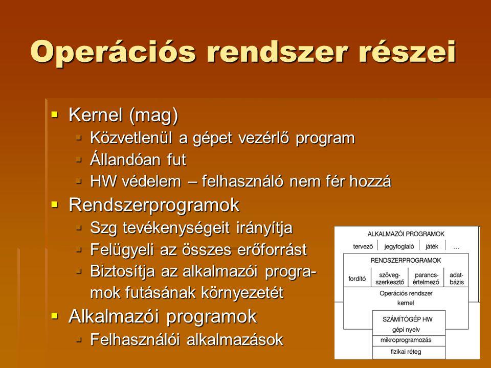 Operációs rendszer részei  Kernel (mag)  Közvetlenül a gépet vezérlő program  Állandóan fut  HW védelem – felhasználó nem fér hozzá  Rendszerprogramok  Szg tevékenységeit irányítja  Felügyeli az összes erőforrást  Biztosítja az alkalmazói progra- mok futásának környezetét  Alkalmazói programok  Felhasználói alkalmazások