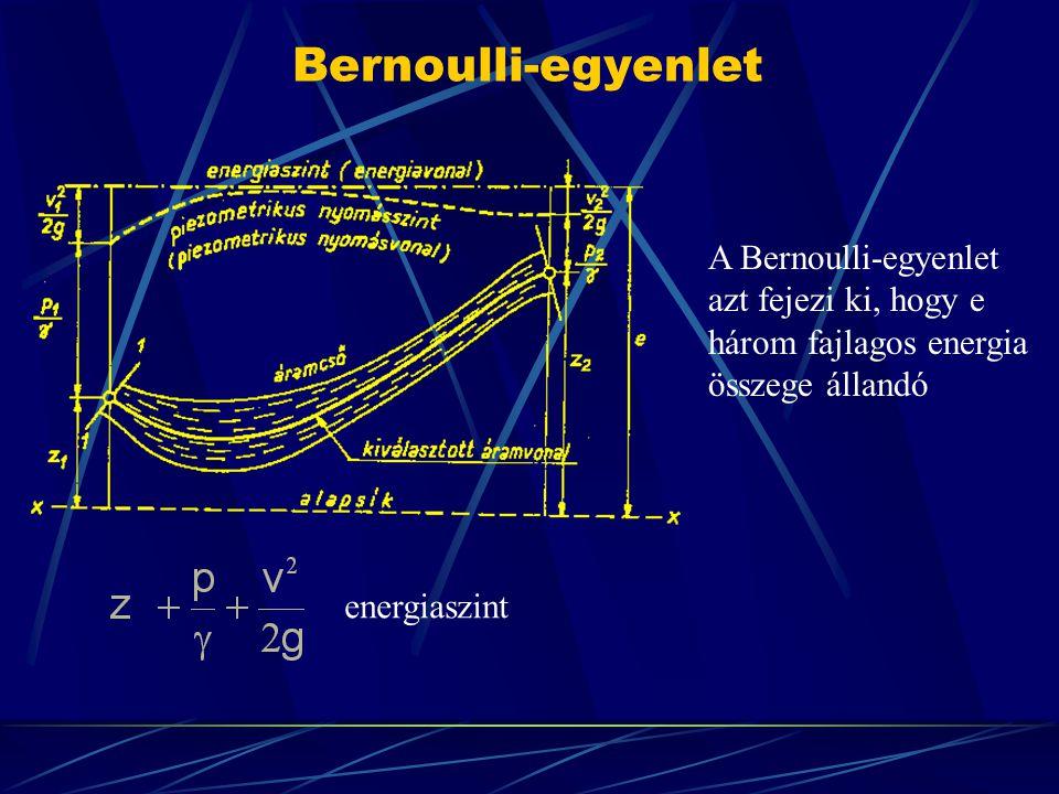 Bernoulli-egyenlet energiaszint A Bernoulli-egyenlet azt fejezi ki, hogy e három fajlagos energia összege állandó