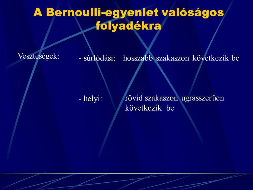 A Bernoulli-egyenlet valóságos folyadékra Veszteségek: - súrlódási: - helyi: hosszabb szakaszon következik be rövid szakaszon ugrásszerűen következik