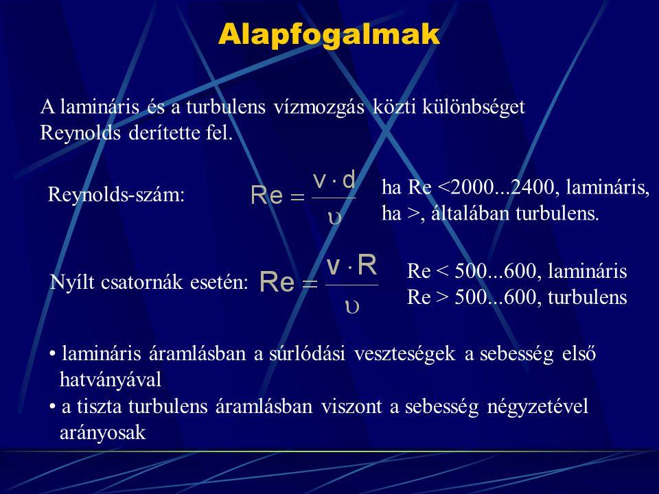 Alapfogalmak Nyílt csatornák esetén: Re < 500...600, lamináris Re > 500...600, turbulens lamináris áramlásban a súrlódási veszteségek a sebesség első