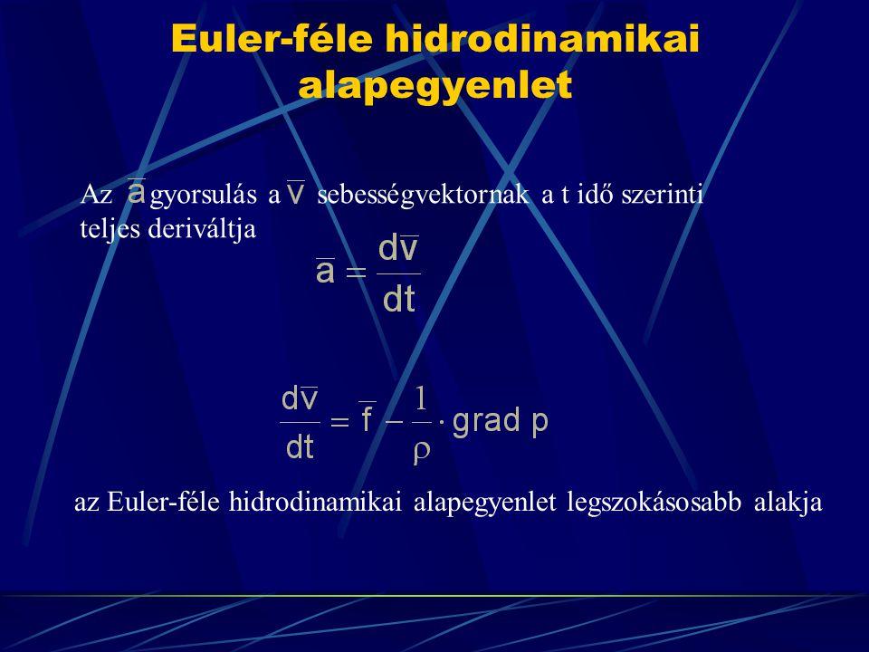 Euler-féle hidrodinamikai alapegyenlet Az gyorsulás a sebességvektornak a t idő szerinti teljes deriváltja az Euler-féle hidrodinamikai alapegyenlet l