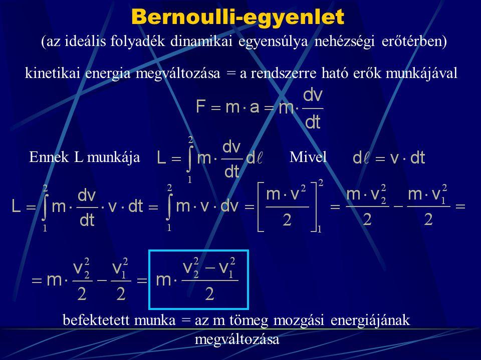 Bernoulli-egyenlet A 2-2 folyadéktest energiája mennyivel tér el az 1-1 folyadéktest energiájától .