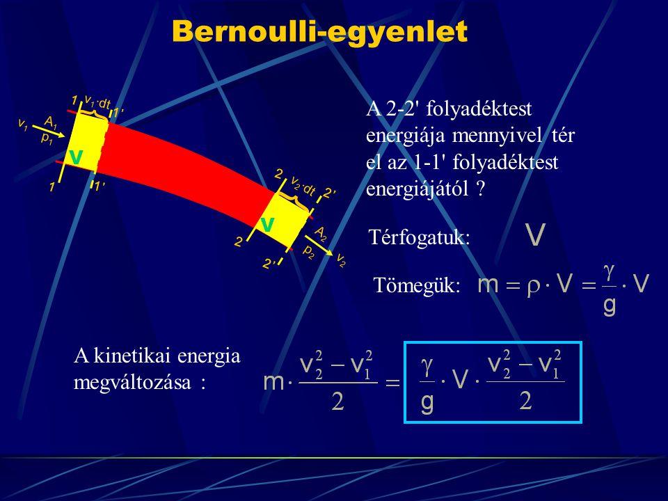 Bernoulli-egyenlet A 2-2' folyadéktest energiája mennyivel tér el az 1-1' folyadéktest energiájától ? Térfogatuk: Tömegük: A kinetikai energia megvált
