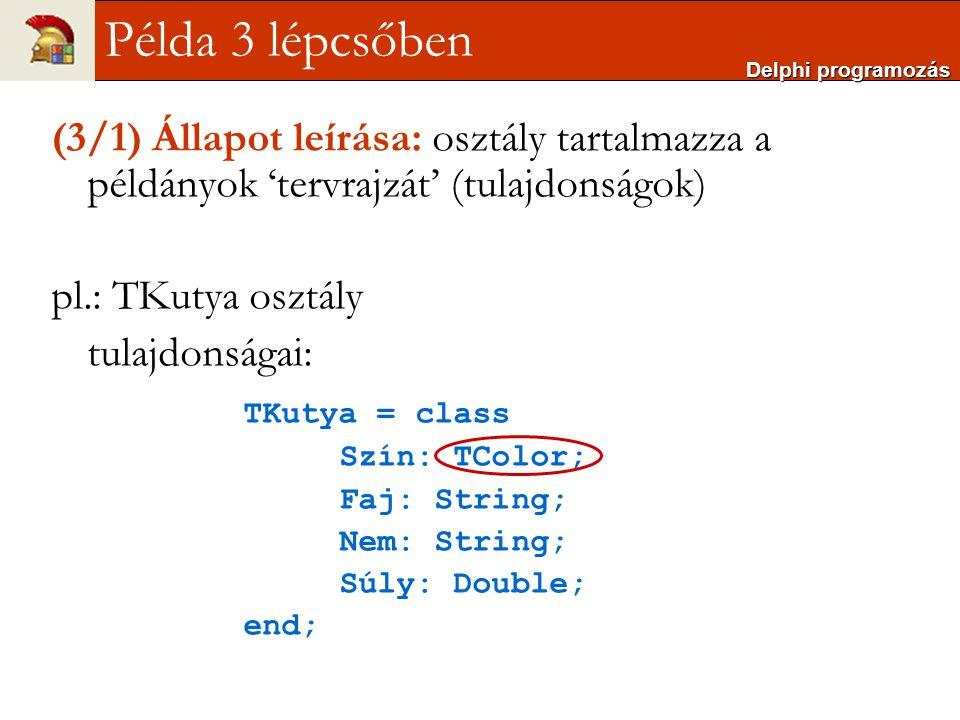 (3/1) Állapot leírása: osztály tartalmazza a példányok 'tervrajzát' (tulajdonságok) pl.: TKutya osztály tulajdonságai: TKutya = class Szín: TColor; Fa