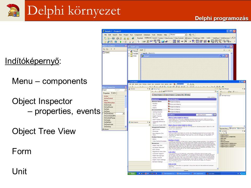Indítóképernyő: Menu – components Object Inspector – properties, events Object Tree View Form Unit Delphi programozás Delphi környezet