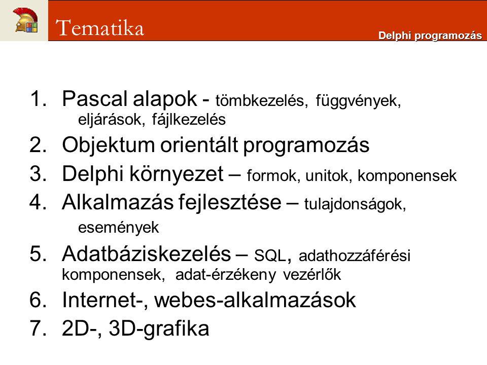 1.Pascal alapok - tömbkezelés, függvények, eljárások, fájlkezelés 2.Objektum orientált programozás 3.Delphi környezet – formok, unitok, komponensek 4.