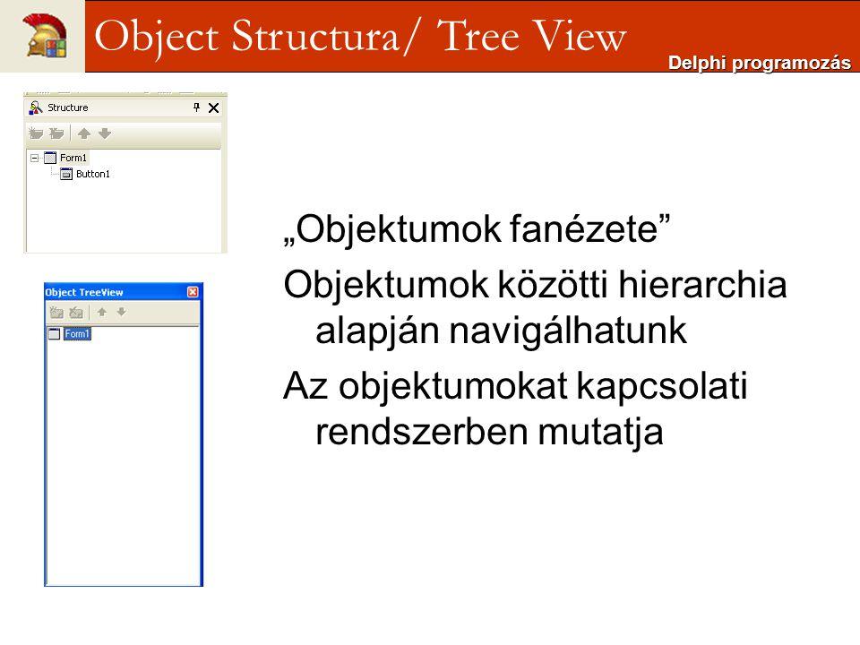 """""""Objektumok fanézete"""" Objektumok közötti hierarchia alapján navigálhatunk Az objektumokat kapcsolati rendszerben mutatja Delphi programozás Object Str"""