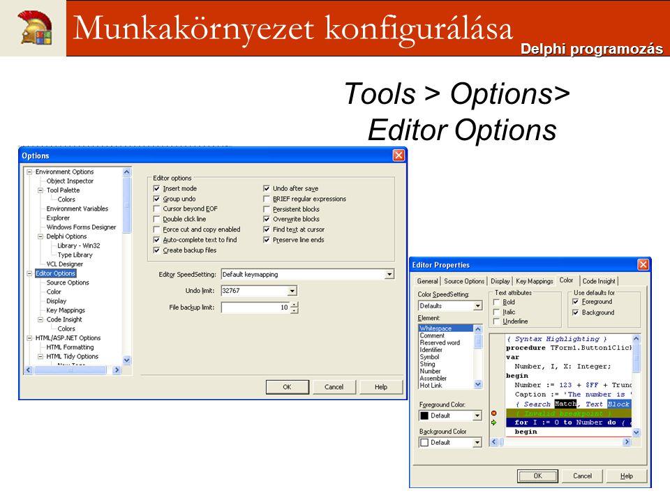 Tools > Options> Editor Options Delphi programozás Munkakörnyezet konfigurálása