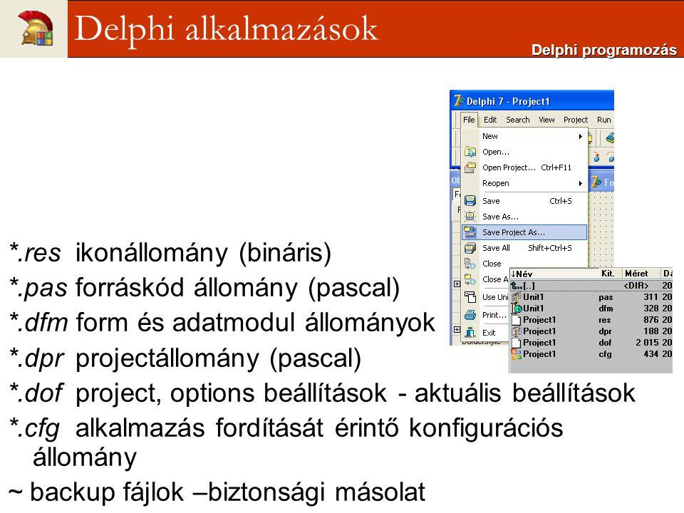 *.resikonállomány (bináris) *.pasforráskód állomány (pascal) *.dfm form és adatmodul állományok *.dprprojectállomány (pascal) *.dofproject, options be