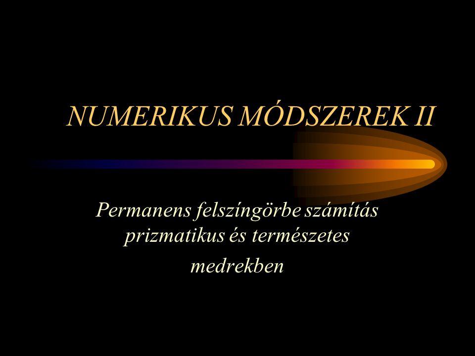 NUMERIKUS MÓDSZEREK II Permanens felszíngörbe számítás prizmatikus és természetes medrekben
