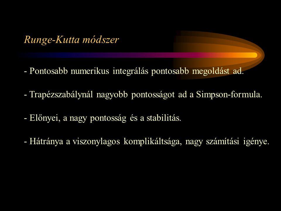 Runge-Kutta módszer - Pontosabb numerikus integrálás pontosabb megoldást ad. - Trapézszabálynál nagyobb pontosságot ad a Simpson-formula. - Előnyei, a
