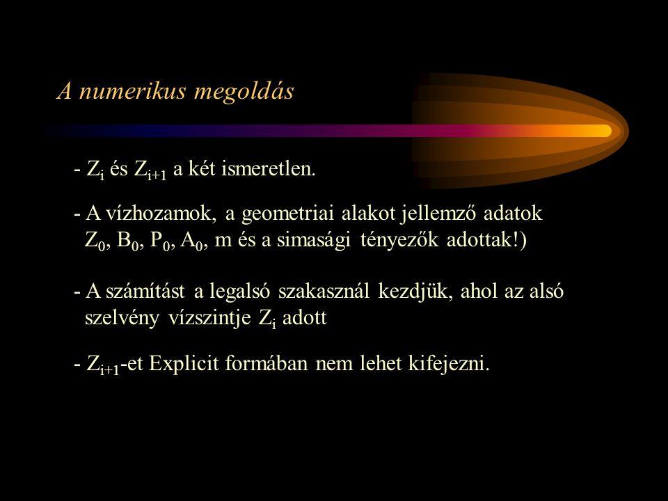 A numerikus megoldás - Z i és Z i+1 a két ismeretlen. - A vízhozamok, a geometriai alakot jellemző adatok Z 0, B 0, P 0, A 0, m és a simasági tényezők