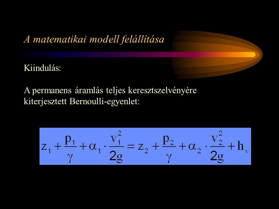 A képletben szereplő tényezők: 1 és 2- alsó indexek az egyes hidraulikai jellemzők vízfolyás irányában a felső ill.
