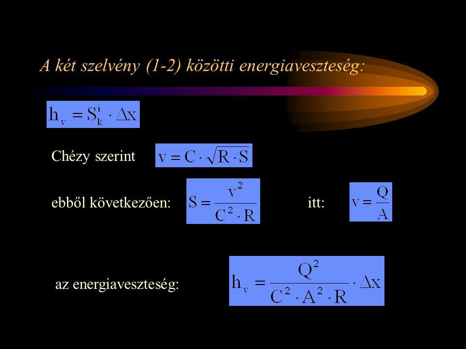 A két szelvény (1-2) közötti energiaveszteség: Chézy szerint ebből következően:itt: az energiaveszteség: