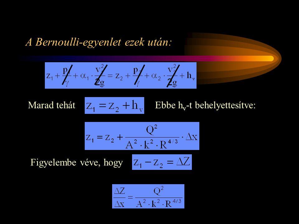 A Bernoulli-egyenlet ezek után: Marad tehátEbbe h v -t behelyettesítve: Figyelembe véve, hogy