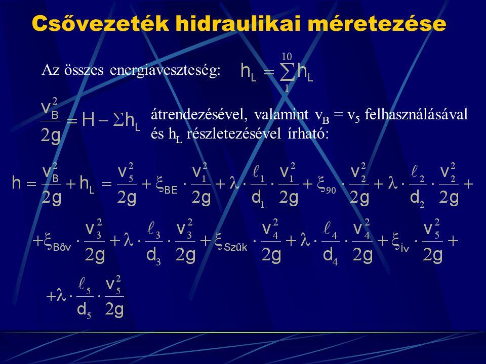 Csővezeték hidraulikai méretezése Az összes energiaveszteség: átrendezésével, valamint v B = v 5 felhasználásával és h L részletezésével írható: