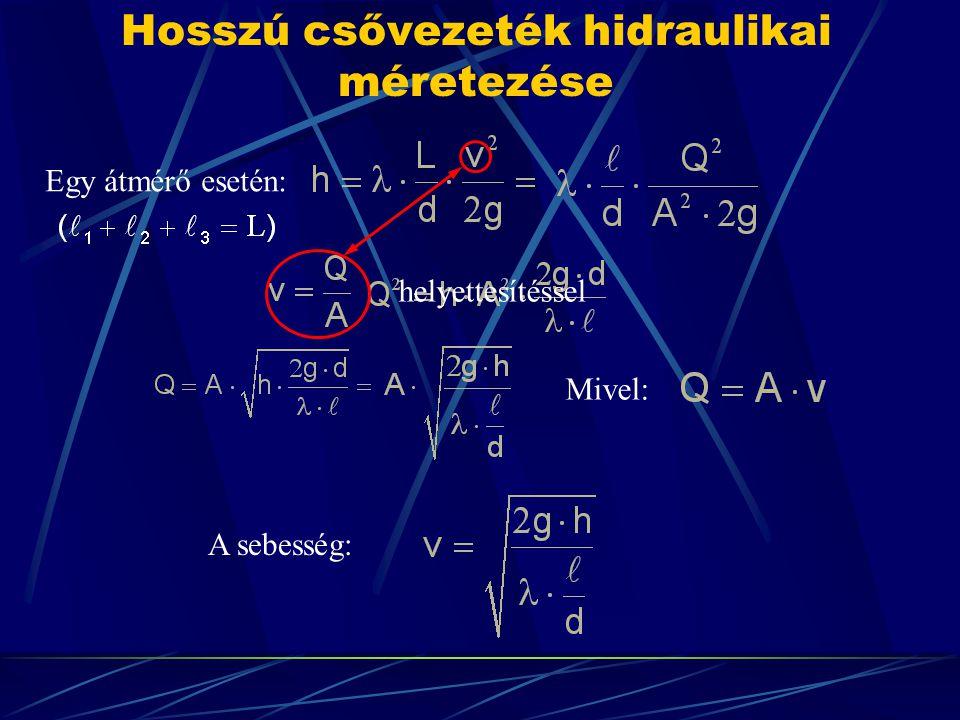 Hosszú csővezeték hidraulikai méretezése Egy átmérő esetén: A sebesség: Mivel: helyettesítéssel