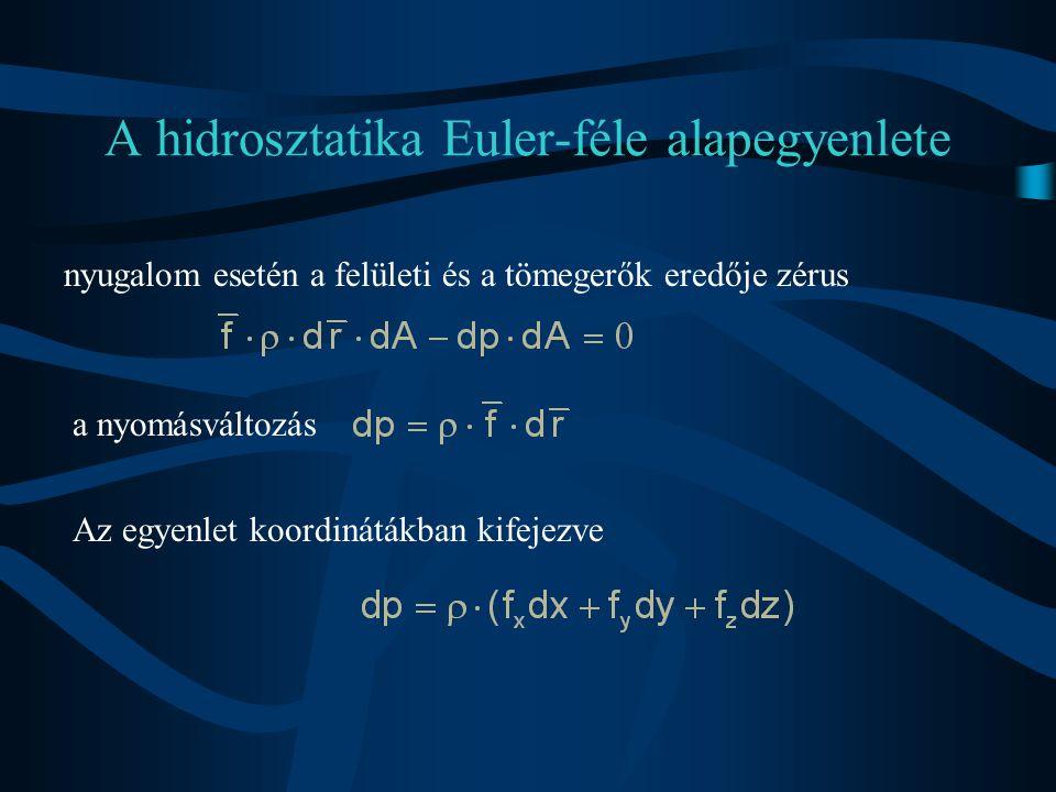 A hidrosztatika Euler-féle alapegyenlete nyugalom esetén a felületi és a tömegerők eredője zérus a nyomásváltozás Az egyenlet koordinátákban kifejezve