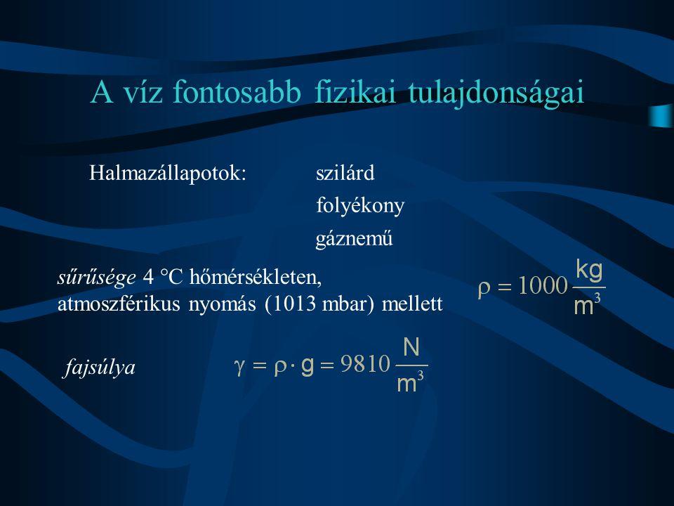 A víz fontosabb fizikai tulajdonságai Nyomásváltozás hatására térfogata megváltozik  p(Pa = N/m 2 )a nyomás megváltozása, K(15 °C-on 2150 Mpa)a víz kompressziós (térfogati rugalmassági) modulusa, V(m 3 )a víztest eredeti térfogata,  V(m 3 )pedig ennek megváltozása.
