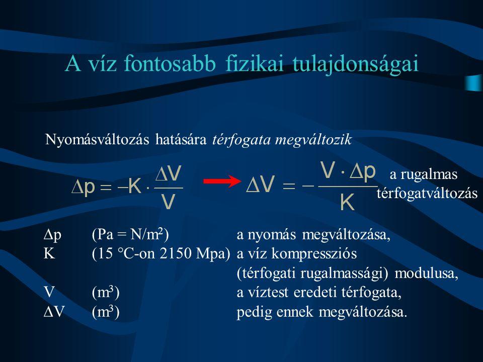 A víz fontosabb fizikai tulajdonságai Nyomásváltozás hatására térfogata megváltozik  p(Pa = N/m 2 )a nyomás megváltozása, K(15 °C-on 2150 Mpa)a víz k