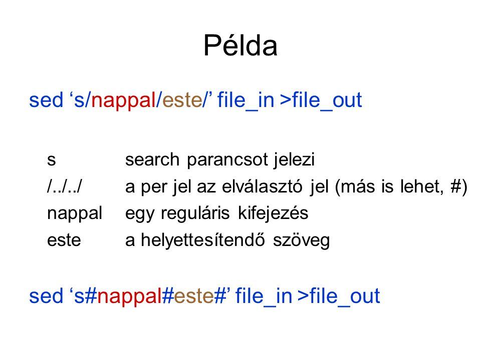 Adatvezérelt programozási nyelv Adat + mit kell vele csinálni Szintaxisa awk '/minta/{parancs}' file Minta, ami illeszkedik egy szövegdarabra, és a művelet.