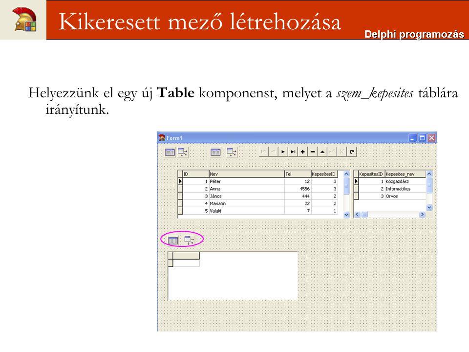 Delphi programozás Kikeresett mező létrehozása Helyezzünk el egy új Table komponenst, melyet a szem_kepesites táblára irányítunk.