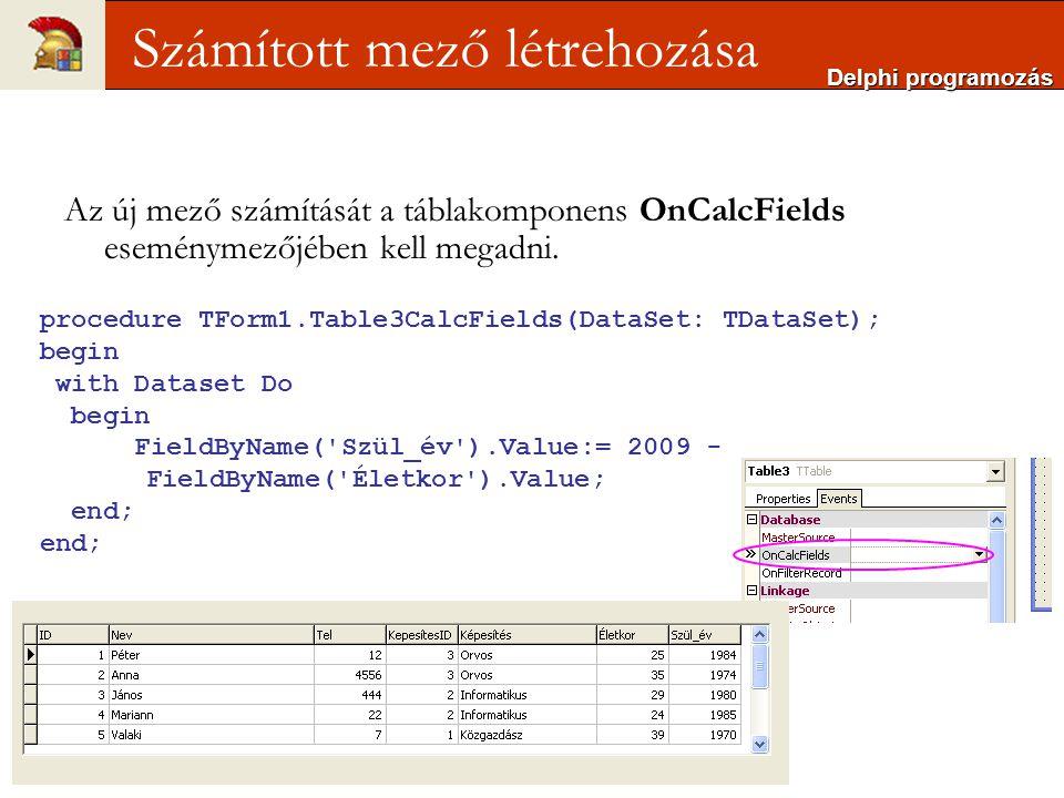 Delphi programozás Számított mező létrehozása Az új mező számítását a táblakomponens OnCalcFields eseménymezőjében kell megadni.