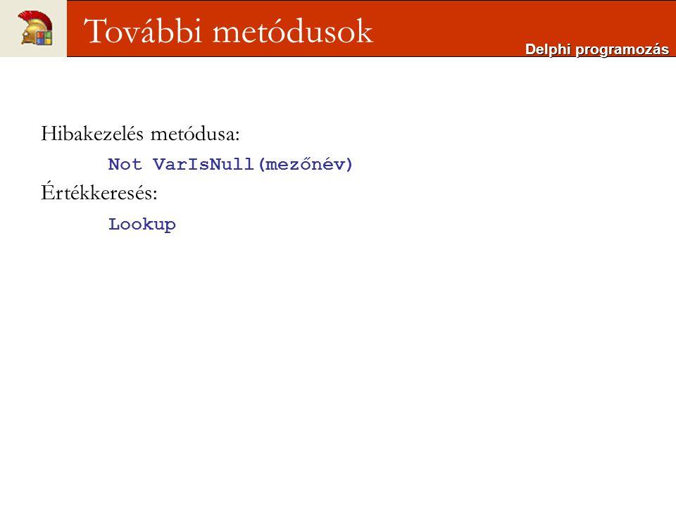Delphi programozás További metódusok Hibakezelés metódusa: Not VarIsNull(mezőnév) Értékkeresés: Lookup