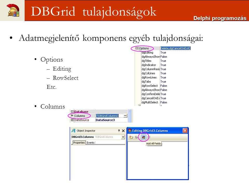 Adatmegjelenítő komponens egyéb tulajdonságai: Options –Editing –RowSelect Etc.