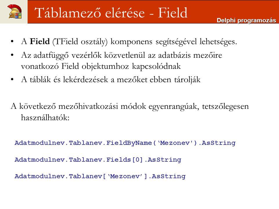 Delphi programozás Táblamező elérése - Field Adatmodulnev.Tablanev.FieldByName('Mezonev ).AsString Adatmodulnev.Tablanev.Fields[0].AsString Adatmodulnev.Tablanev['Mezonev'].AsString A Field (TField osztály) komponens segítségével lehetséges.
