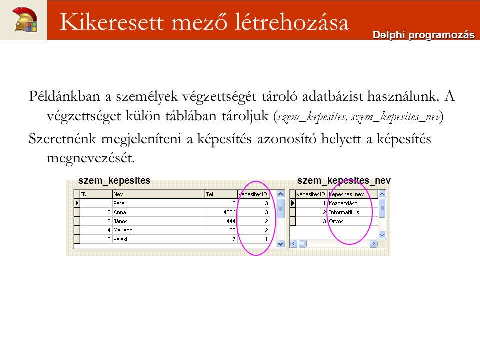 Példánkban a személyek végzettségét tároló adatbázist használunk.