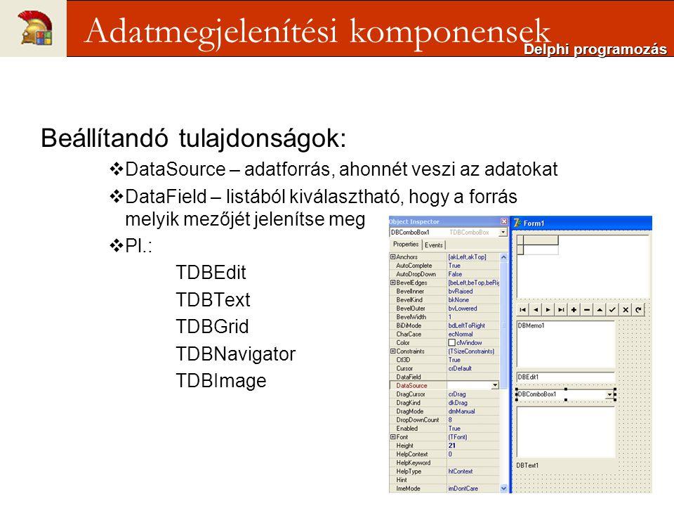 Beállítandó tulajdonságok:  DataSource – adatforrás, ahonnét veszi az adatokat  DataField – listából kiválasztható, hogy a forrás melyik mezőjét jelenítse meg  Pl.: TDBEdit TDBText TDBGrid TDBNavigator TDBImage Delphi programozás Adatmegjelenítési komponensek