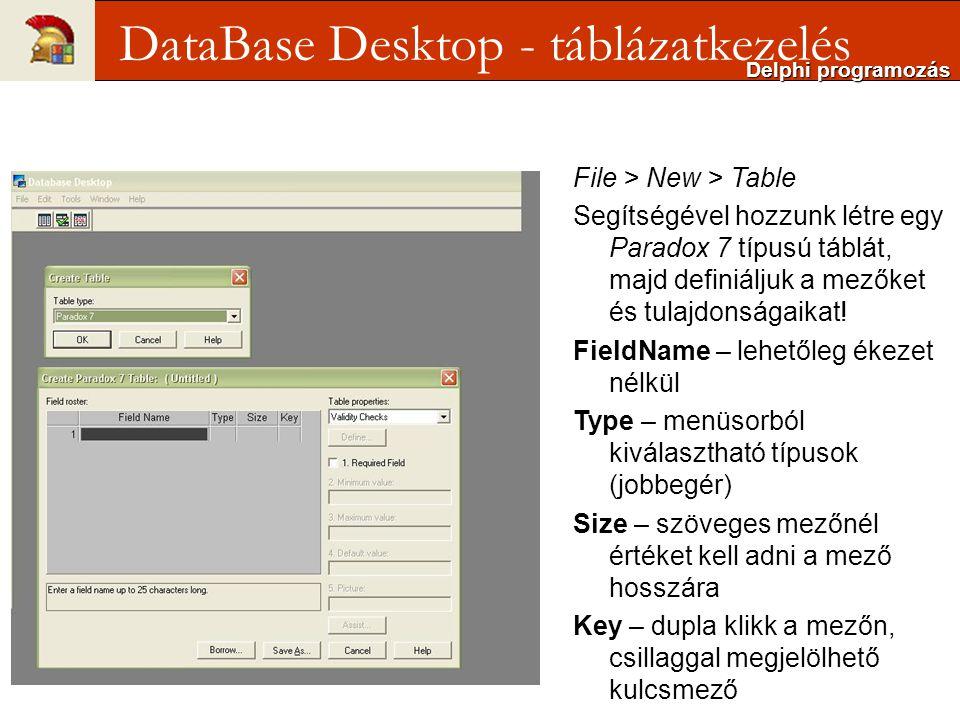 File > New > Table Segítségével hozzunk létre egy Paradox 7 típusú táblát, majd definiáljuk a mezőket és tulajdonságaikat.
