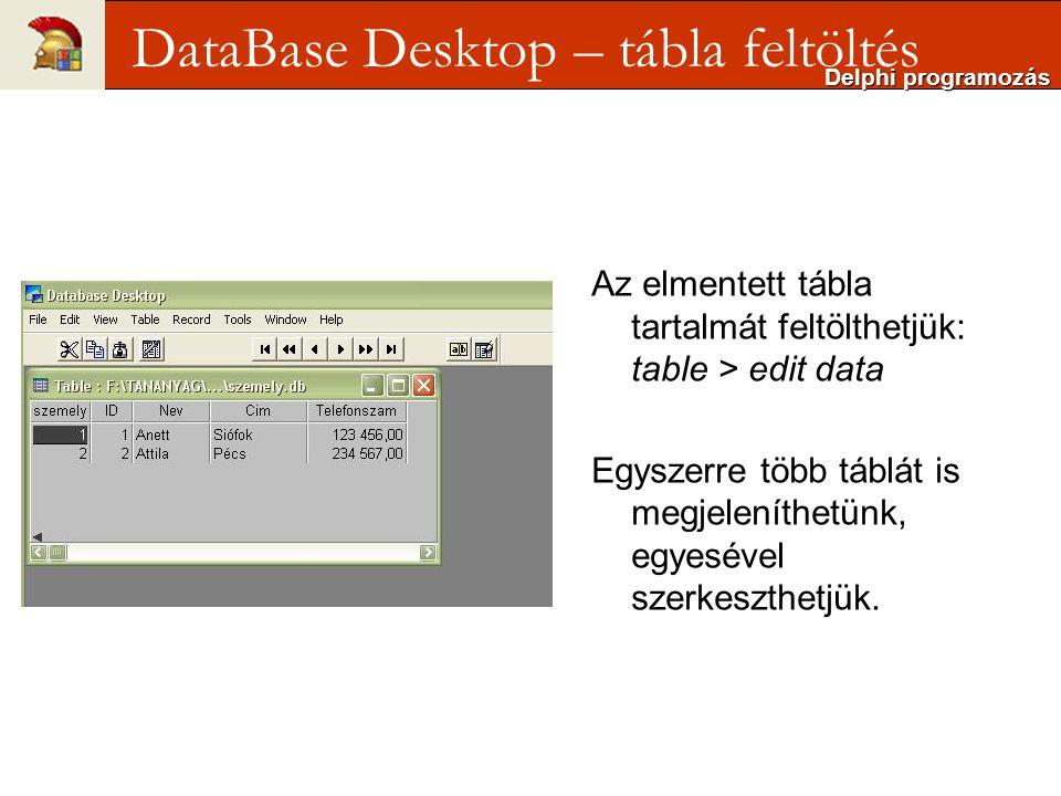 Az elmentett tábla tartalmát feltölthetjük: table > edit data Egyszerre több táblát is megjeleníthetünk, egyesével szerkeszthetjük.