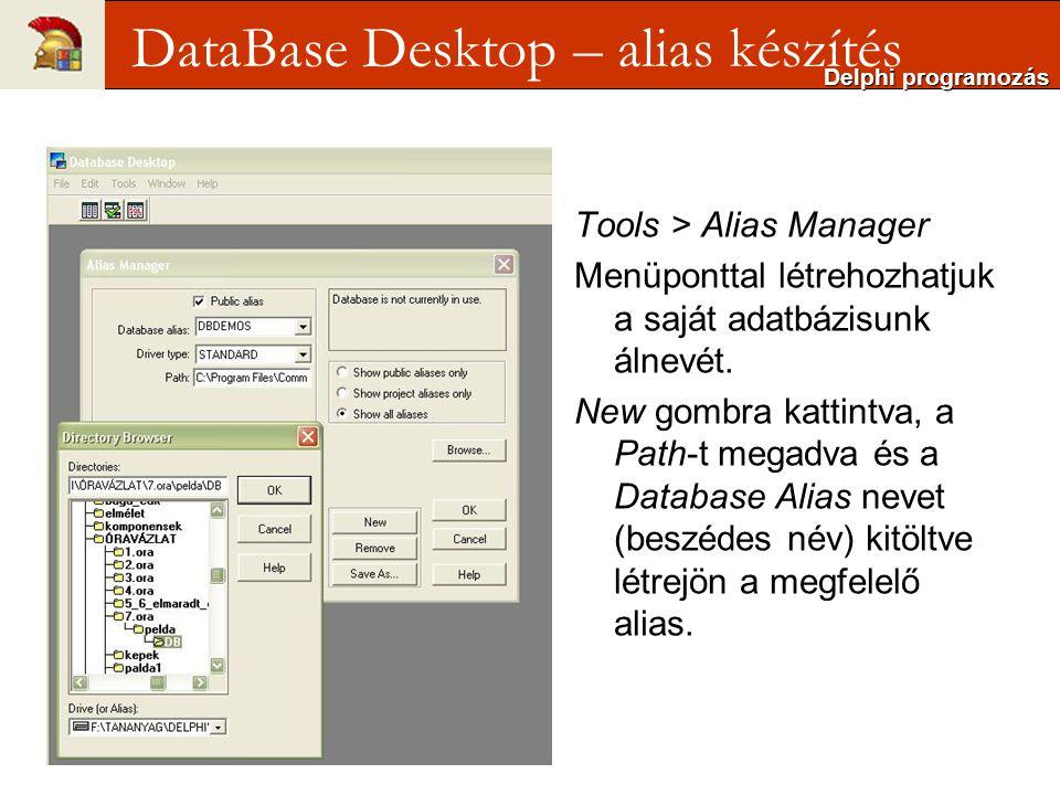 Tools > Alias Manager Menüponttal létrehozhatjuk a saját adatbázisunk álnevét.