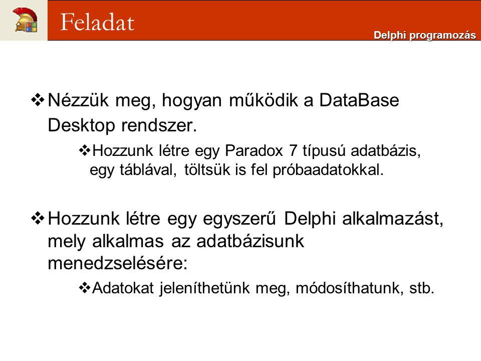  Nézzük meg, hogyan működik a DataBase Desktop rendszer.