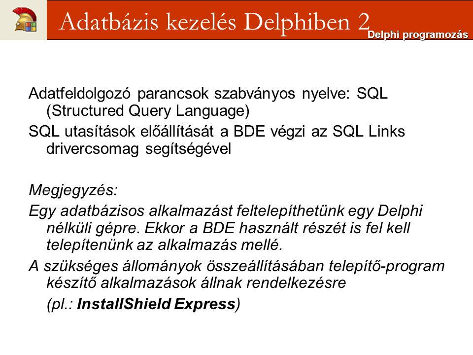Adatfeldolgozó parancsok szabványos nyelve: SQL (Structured Query Language) SQL utasítások előállítását a BDE végzi az SQL Links drivercsomag segítségével Megjegyzés: Egy adatbázisos alkalmazást feltelepíthetünk egy Delphi nélküli gépre.