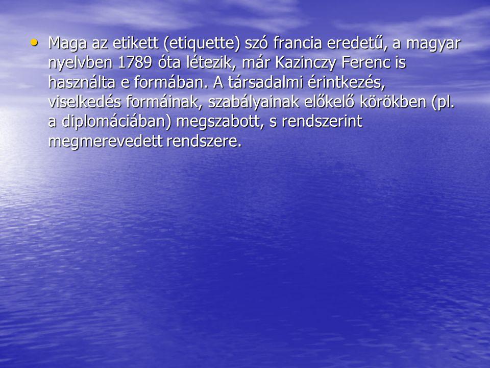 Maga az etikett (etiquette) szó francia eredetű, a magyar nyelvben 1789 óta létezik, már Kazinczy Ferenc is használta e formában. A társadalmi érintke