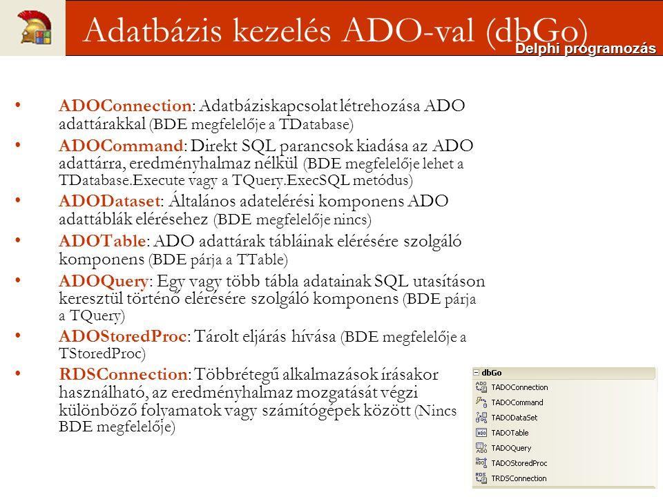 TADOConnection (BDE TDatabase komponens ADO megfelelője) adatbázis kapcsolat felügyelésére szolgál; a kapcsolatot az adatbázis és a Delphi között ez a komponens biztosítja Nem kötelező a használata Adatmegjelenítés ADOConnection-ADOTable-DataSource- DataGrid beállításával ADO kapcsolat kétféleképpen is specifikálható UDL fájlban – bármikor átszerkeszthető Connection String-gel – 'beégetett' megoldás Delphi programozás ADOConnection