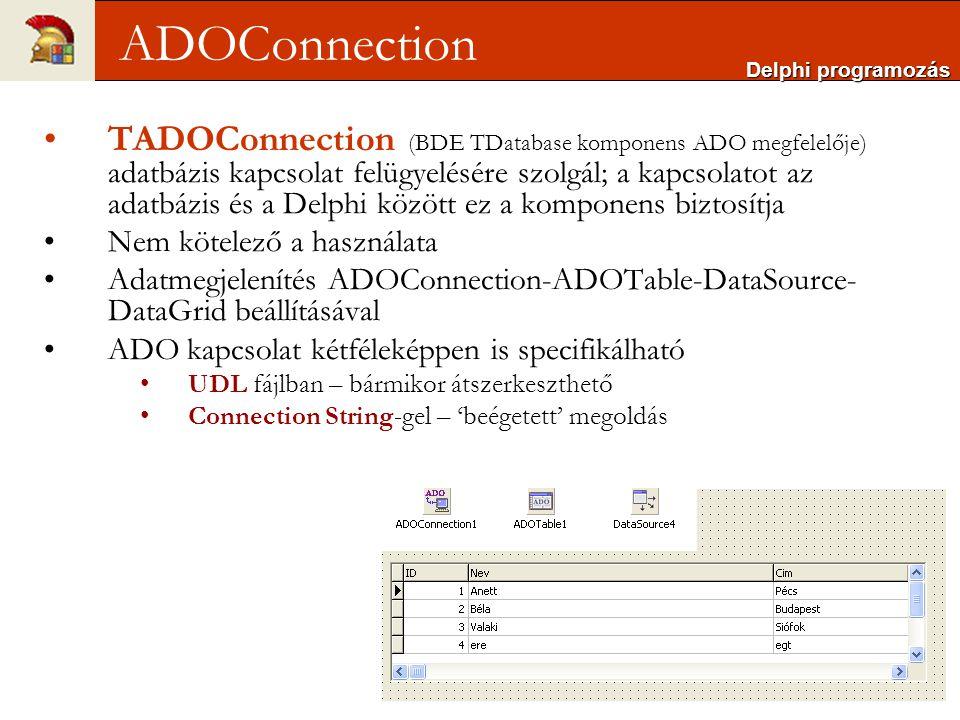 Connection String-gel 'beégetett' megoldást kapunk ConnectionString property-jén keresztül lehet beállítani a következőket: használni kívánt adatbázis motort az adatforrás (szerver) nevét a bejelentkezéshez használt felhasználónevet és jelszót az adattáblát kapcsolat megadásához a kapcsolódás paramétereit egymástól pontosvesszővel elválasztva kell megadni szerkesztőablak is rendelkezésre áll Delphi programozás ADOConnection – string-gel