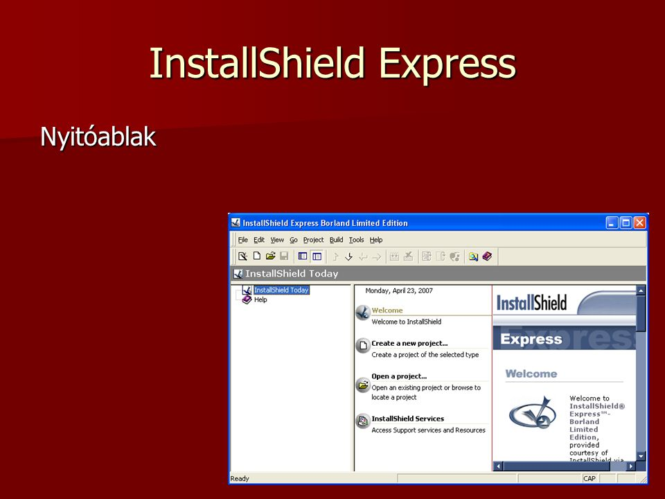 InstallShield Új projectállomány létrehozása a file menüpontból: file>new>project