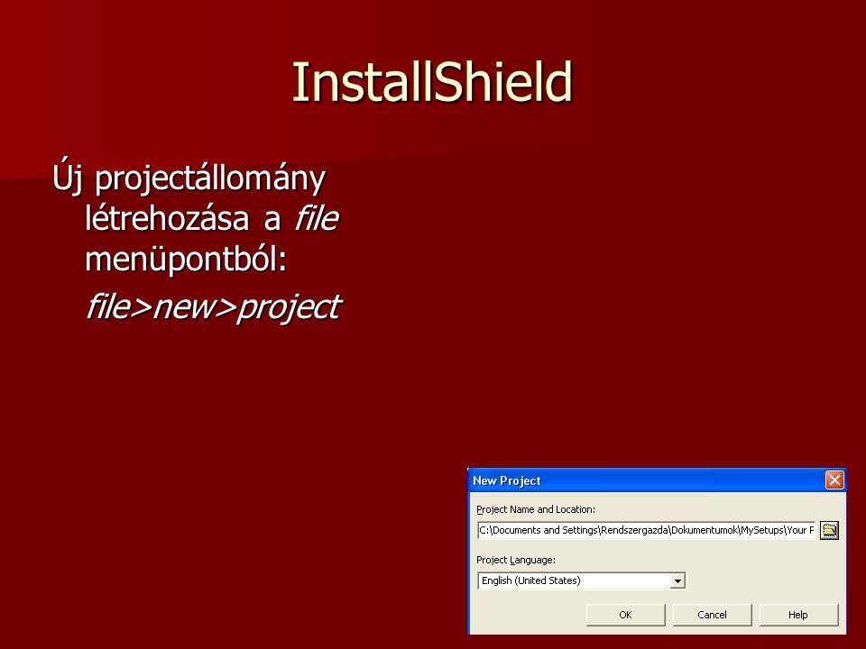 InstallShield Express A létrehozott Telepítő_project project nyitóképernyője:
