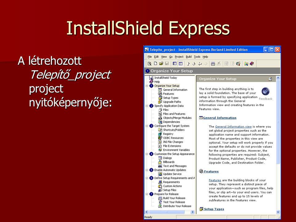 InstallShield Express A Build menüpontból végezhetjük el a beállított állomány fordítását Kimeneten egy Setup.exe állomány található: