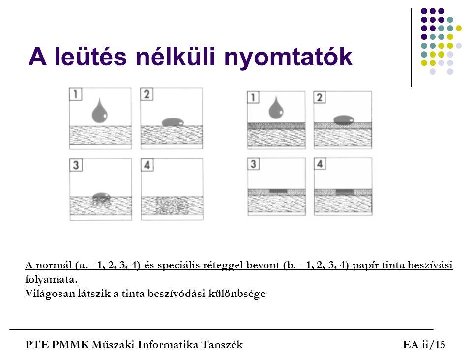 A leütés nélküli nyomtatók PTE PMMK Műszaki Informatika TanszékEA ii/15 A normál (a. - 1, 2, 3, 4) és speciális réteggel bevont (b. - 1, 2, 3, 4) papí