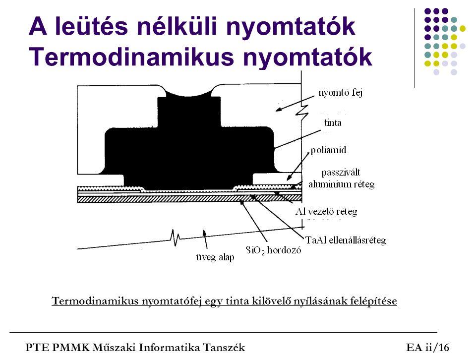 A leütés nélküli nyomtatók Termodinamikus nyomtatók PTE PMMK Műszaki Informatika TanszékEA ii/16 Termodinamikus nyomtatófej egy tinta kilövelő nyílásá