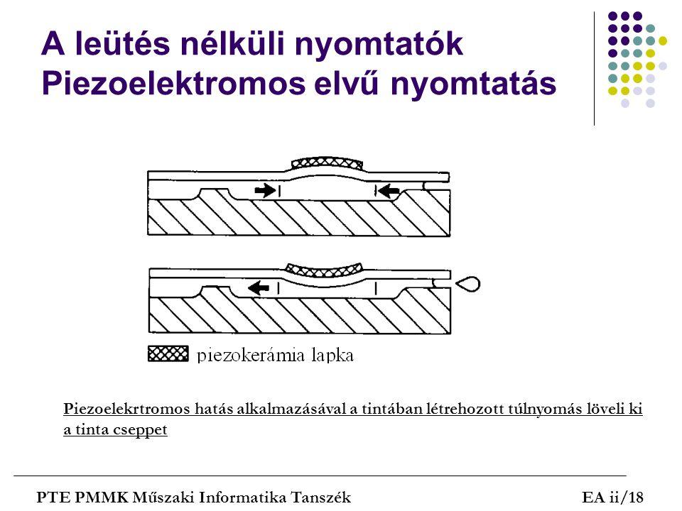 A leütés nélküli nyomtatók Piezoelektromos elvű nyomtatás PTE PMMK Műszaki Informatika TanszékEA ii/18 Piezoelekrtromos hatás alkalmazásával a tintába
