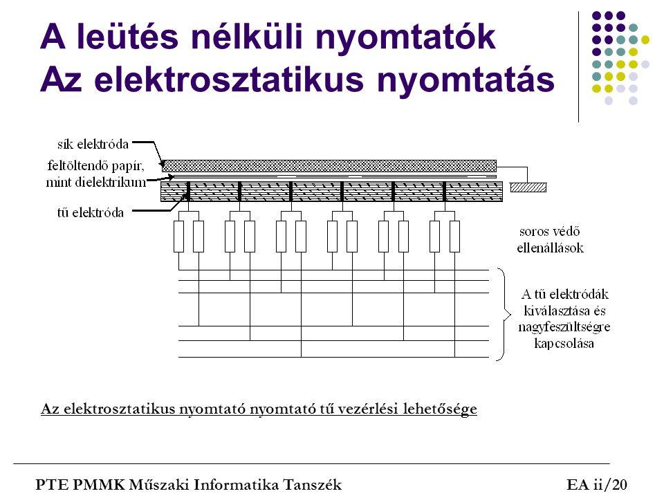 A leütés nélküli nyomtatók Az elektrosztatikus nyomtatás PTE PMMK Műszaki Informatika TanszékEA ii/20 Az elektrosztatikus nyomtató nyomtató tű vezérlé