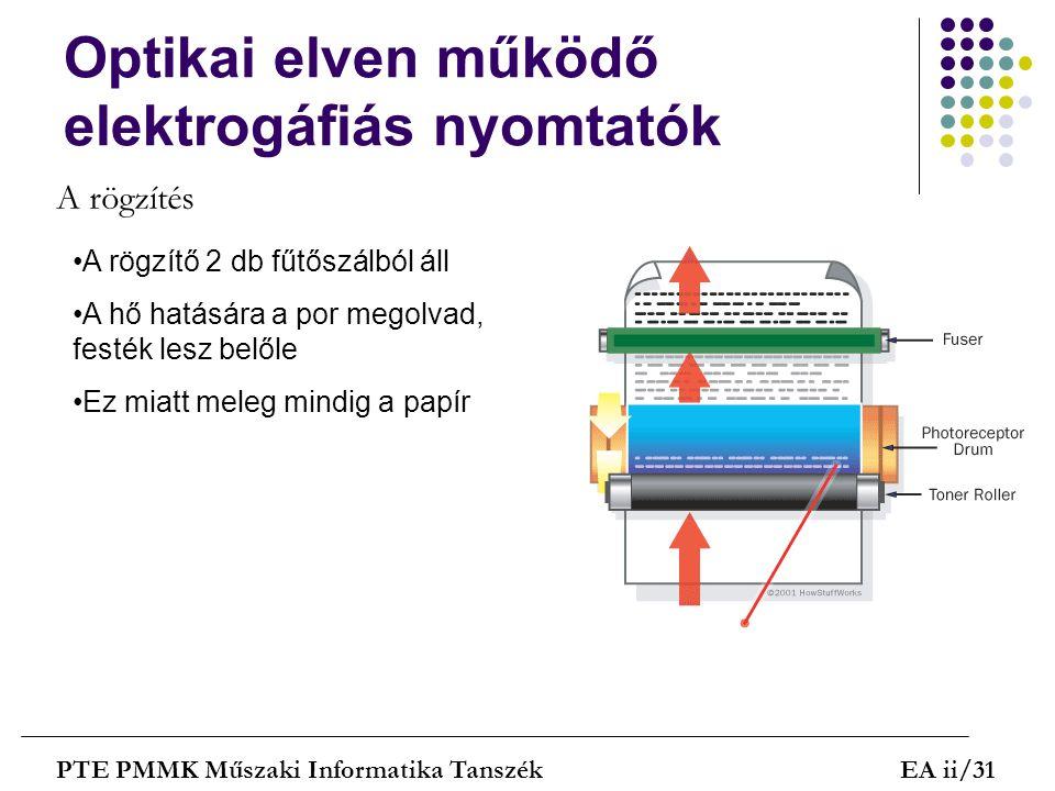 Optikai elven működő elektrogáfiás nyomtatók PTE PMMK Műszaki Informatika TanszékEA ii/31 A rögzítés A rögzítő 2 db fűtőszálból áll A hő hatására a po