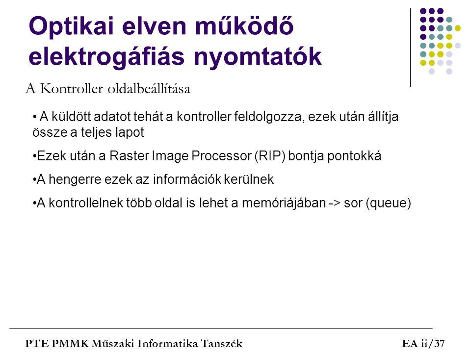 Optikai elven működő elektrogáfiás nyomtatók PTE PMMK Műszaki Informatika TanszékEA ii/37 A Kontroller oldalbeállítása A küldött adatot tehát a kontro