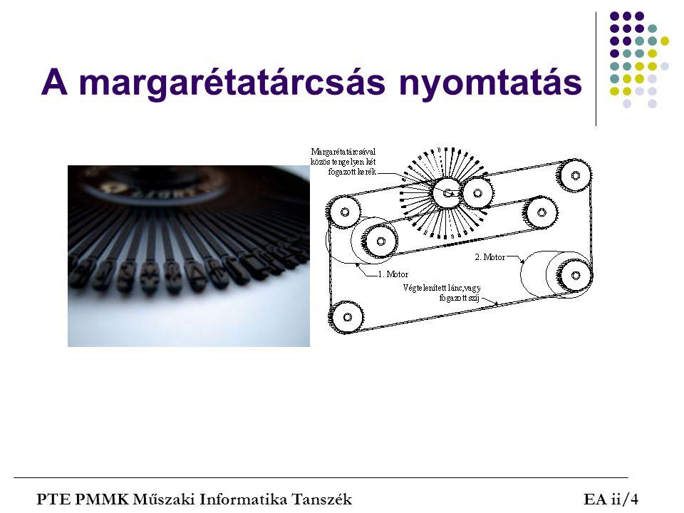 A lézernyomtatás lépései PTE PMMK Műszaki Informatika TanszékEA ii/25 A henger + töltésű Az optikai elven eltérített lézersugár kisüti az adott pontokat -> elektrosztatikus kép Minta után a henger egy finom festékporral szóródik be (toner által).